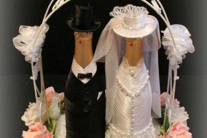 Изготовление свадебных бутылок